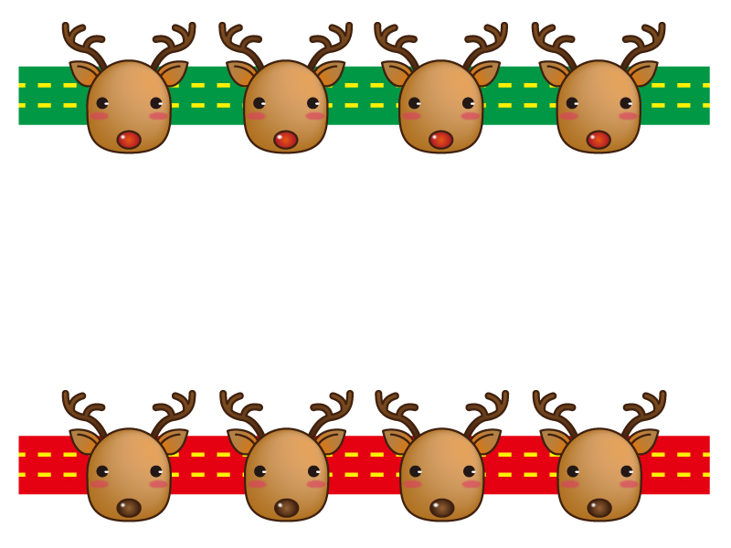 クリスマス・トナカイのフレーム・枠素材02