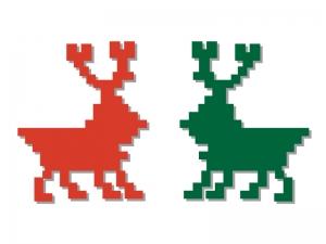 ノルディック柄のトナカイ・クリスマスのイラスト素材
