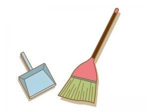 ホウキとチリトリ・掃除のイラスト素材