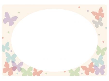パステル調の蝶々のフレーム・飾り枠素材