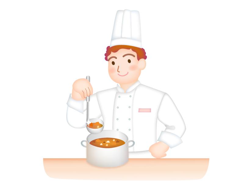 コック・料理人が調理しているイラスト素材