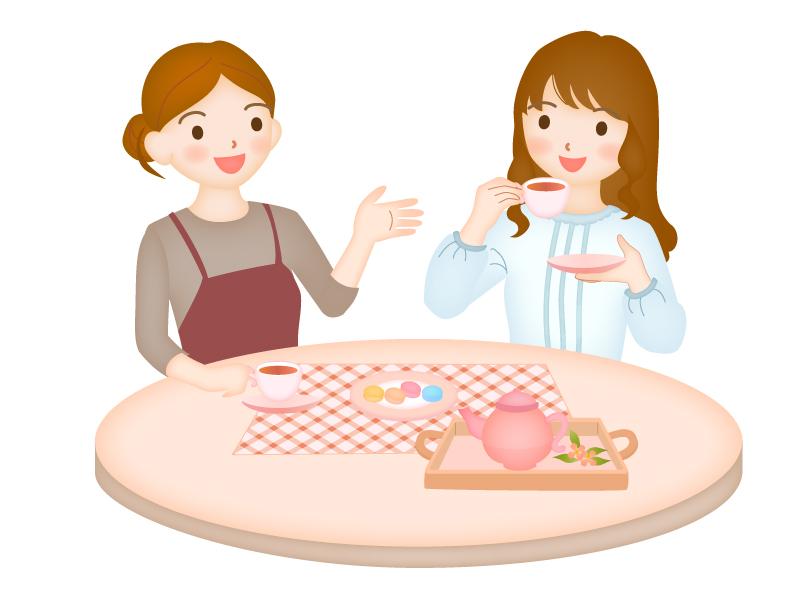 女性のお茶会のイラスト素材