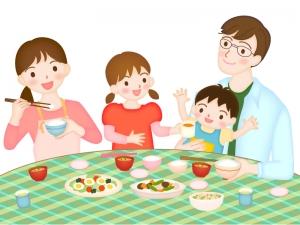 笑顔の家族団欒のイラスト素材