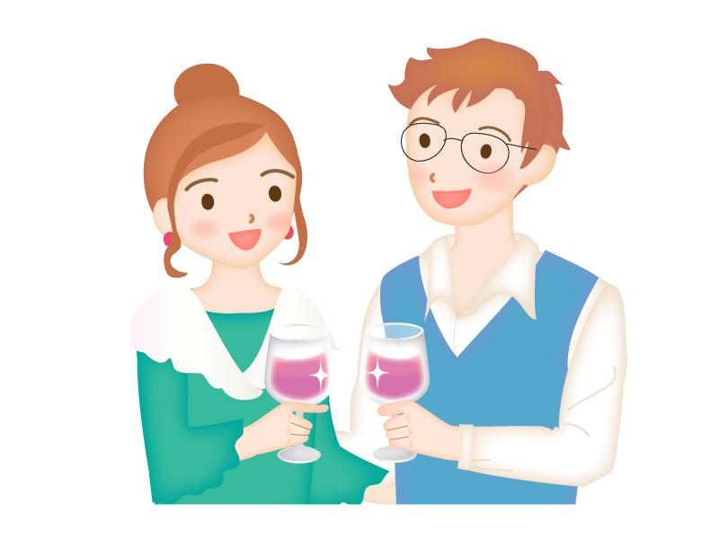 ワインを乾杯しているシーンのイラスト素材