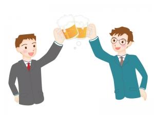 ビールを乾杯しているシーンのイラスト素材