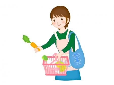 買い物をする主婦のイラスト素材