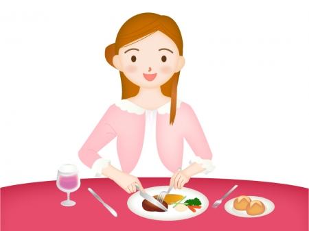 洋食を食べている女性のイラスト素材