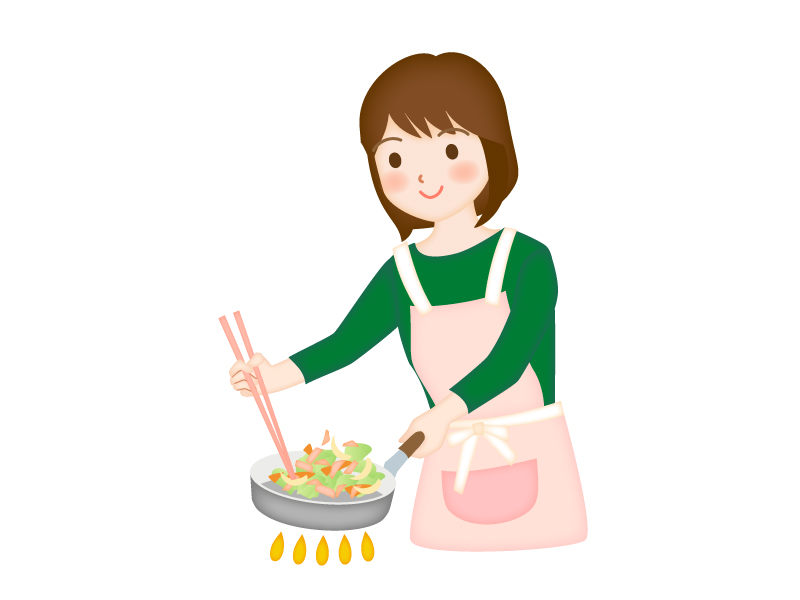 料理をしている女性のイラスト素材