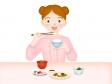 和食を食べている女性のイラスト素材