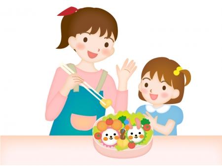 子供と一緒にキャラ弁を作るお母さんのイラスト素材