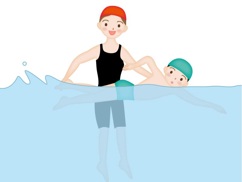 水泳を教えているコーチと子供のイラスト素材