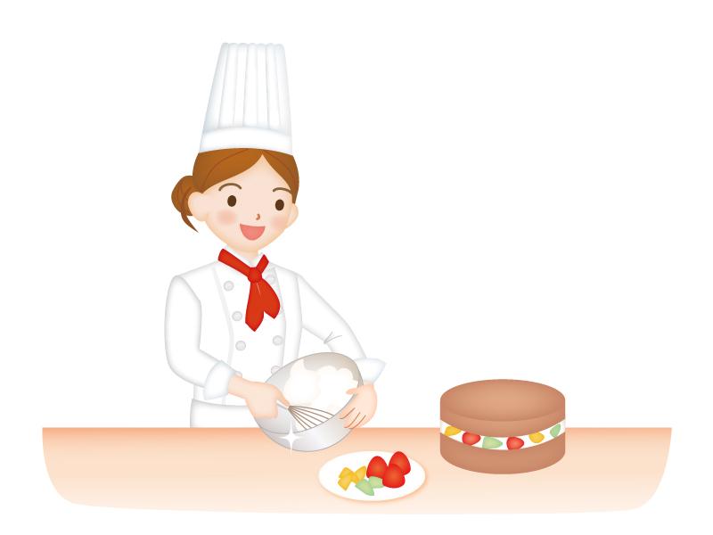 ケーキを作っているパティシエのイラスト