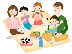 家族でピクニック弁当を食べているイラスト素材