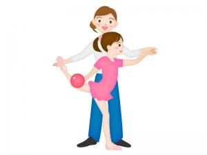 新体操を教えているコーチと子供のイラスト素材