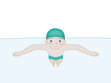 水泳・平泳ぎのイラスト素材
