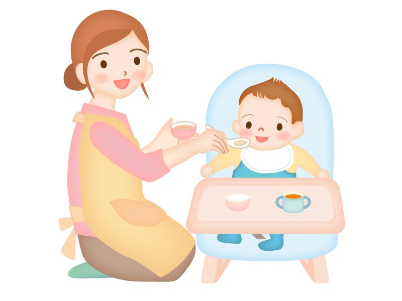 赤ちゃんに離乳食をあげているシーンのイラスト素材