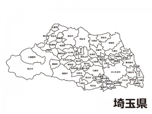 埼玉県(市区町村別)の白地図のイラスト素材
