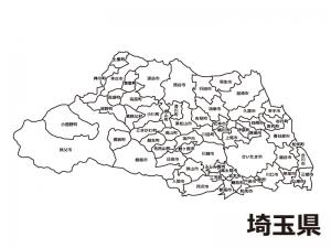埼玉県(市区町村別)の白地図のイラスト素材