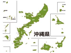 沖縄県(市町村別)の地図イラスト素材