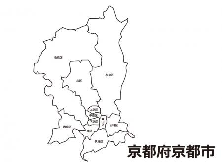 京都府京都市(区別)の白地図のイラスト素材