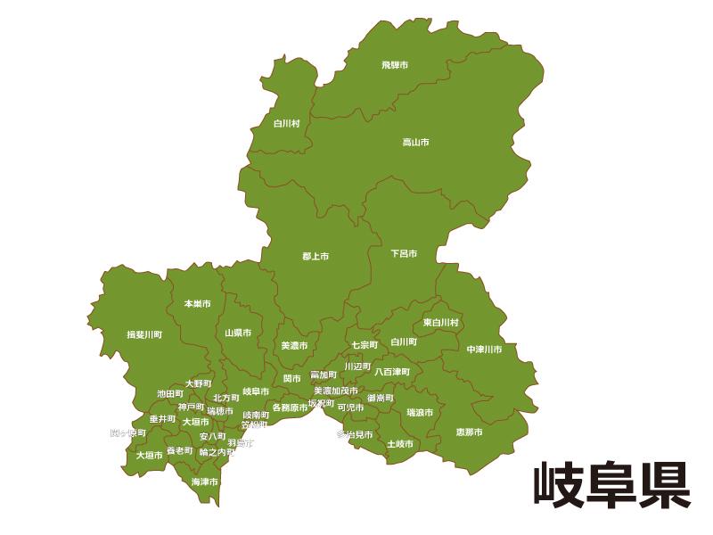 岐阜県(市町村別)の地図イラスト素材