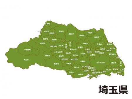 埼玉県(市区町村別)の地図イラスト素材