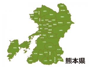 熊本県(市区町村別)の地図イラスト素材