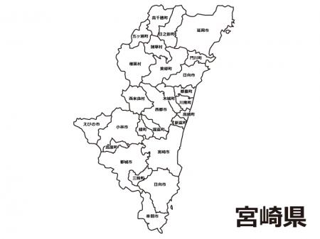 宮崎県(市町村別)の白地図のイラスト素材