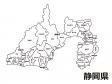 静岡県(市区町村別)の白地図のイラスト素材
