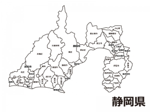 静岡県(市区町村別)の白地図のイラスト素材