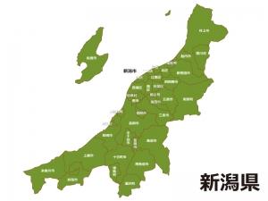 新潟県(市区町村)の地図イラスト素材