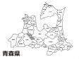 青森県(市町村別)の白地図のイラスト素材
