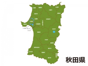 秋田県(市町村別)の地図イラスト素材