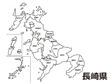 長崎県(市町村別)の白地図のイラスト素材