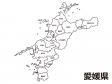 愛媛県(市町村別)の白地図のイラスト素材