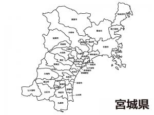 宮城県(市区町村別)の白地図のイラスト素材