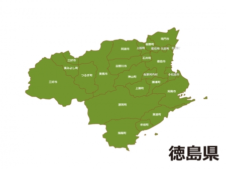 徳島県(市町村別)の地図イラスト素材