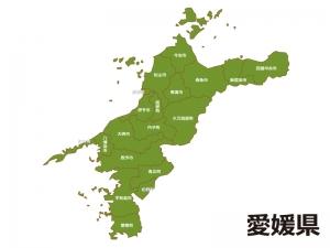 愛媛県(市町村別)の地図イラスト素材