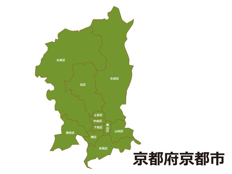 京都府京都市(区別)の地図イラスト素材