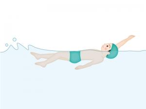 水泳・背泳ぎのイラスト素材