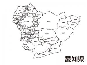 愛知県(市区町村別)の白地図のイラスト