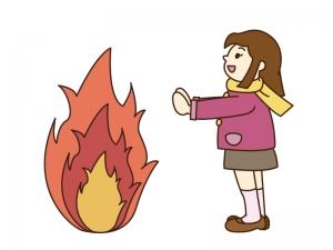 焚き火をしているイラスト素材