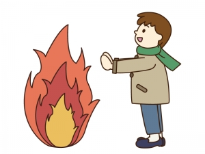 焚き火をしているイラスト素材02