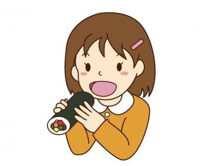 恵方巻きを食べている女の子のイラスト素材