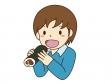 恵方巻きを食べている男の子のイラスト素材