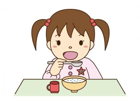 七草粥を食べている女の子のイラスト素材