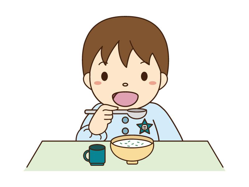 七草粥を食べている男の子のイラスト素材