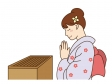 初詣でお参りしているシーンのイラスト素材02