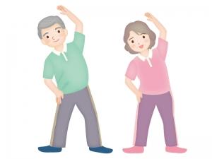 おじいちゃんとおばあちゃんがラジオ対応をしているイラスト