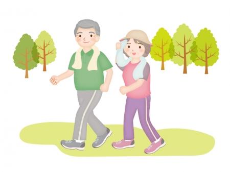 おじいちゃんとおばあちゃんがウォーキングをしているイラスト